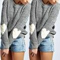 Moda Invierno Mujeres Suéter Manga Impresiones Del Corazón Caliente de Punto suéter de la Navidad Tire Femme Hiver Suéteres S-XL Gris Nuevo