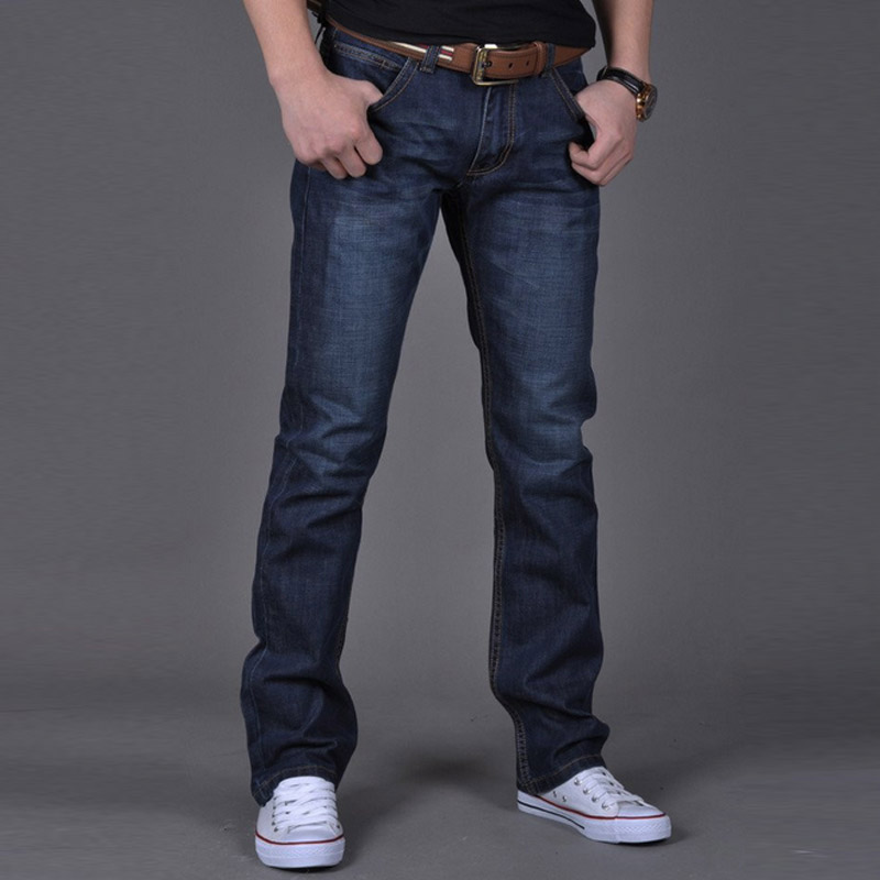Fashion Men Casual Jeans Pants Slim Straight High Elastic Feet Jeans Solid Color Middle Waist Long Trousers DOD886