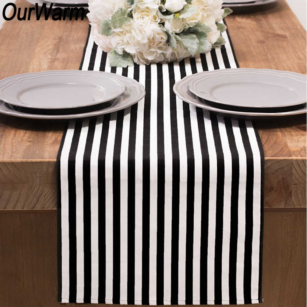 OurWarm 6Feet DIY Black White Striped Table Runner Table Cloths For Home Dinner Room Birthday Wedding Party Table Decorations