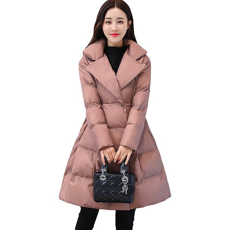 Winter Thicken Down Cotton Jacket Women A-Line Bow Jacket Women Skirt Style Long   Parka   Elegant Wadded Winter Women Outwear