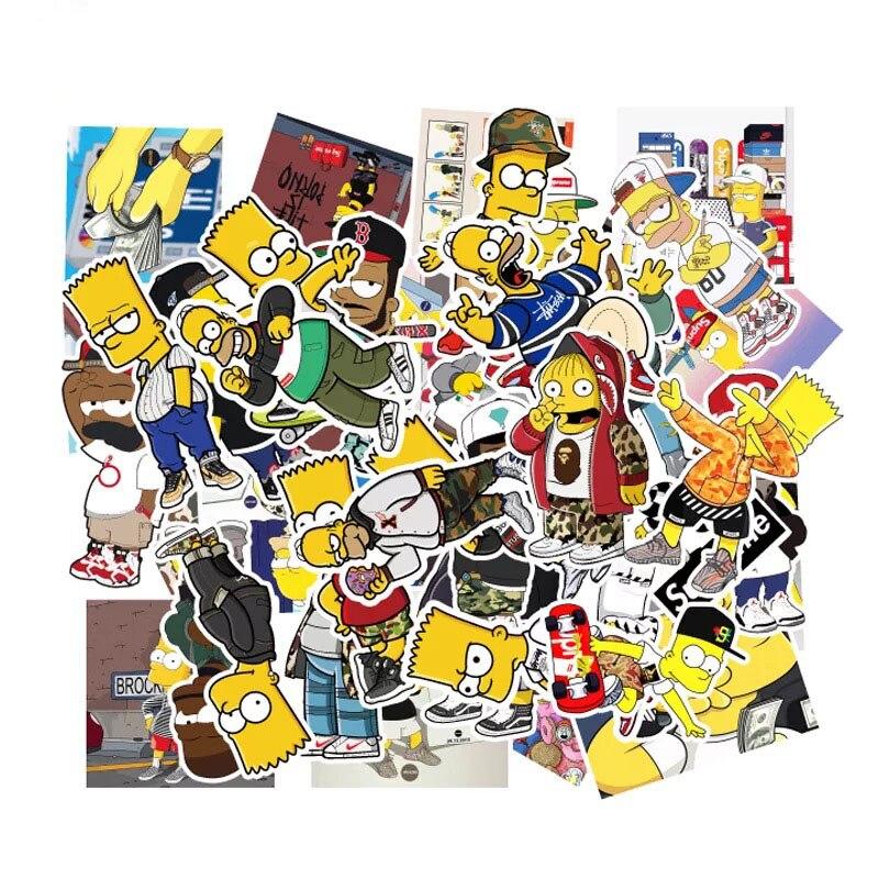 50 pieces Cartoon Simpson family Graffiti Sticker Waterproof sticker DIY Motorcycle Skateboard Laptop Computer Decoration in Stickers from Home Garden