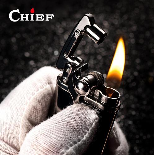 Chef Leichter Benzin Kerosin Flint Benzin Vintage Zigarette Leichter Öl Benzin Nachfüllbare Freies Laser Logo