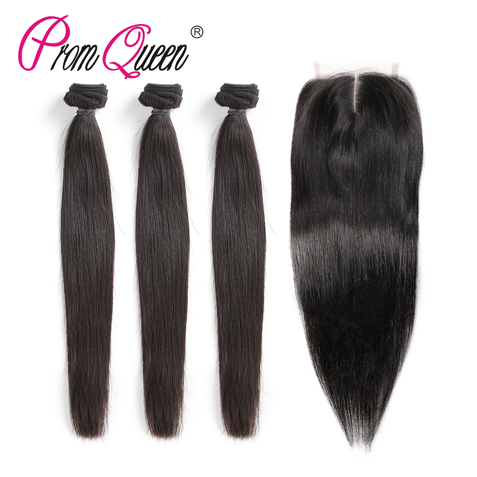 Promqueen Indian Straight Human Hair Bundles with Closure 4*4 Raw Indian Hair Lace Closure Natural Color 8-30inch Free Shipping