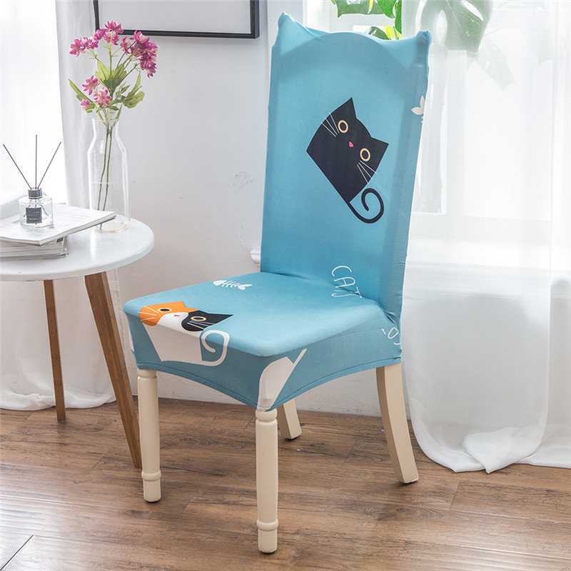 Sensational Us 5 51 49 Off Cute Cat Home Decor Dining Chair Cover Spandex Stretch Polyester Seat Cover Anti Dirty Chair Protective Case For Restaurant Cafe In Gmtry Best Dining Table And Chair Ideas Images Gmtryco