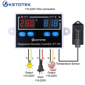 KT100 Digital Thermostat Humidity Controller Egg Incubator Temperature Humidity Controller 10A Direct Output Hygrometer Control sht2000 thermostat temperature humidity control thermometer hygrometer humidista controller ac 110v 85 230v 10a digital display