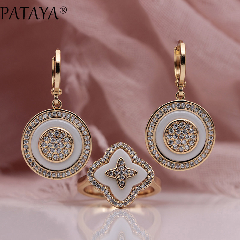 PATAYA New 585 Rose Gold Natural Zircon White Ceramic Long Dangle Earrings Four Petals Rings Sets Women Wedding Luxury Jewelry yoursfs dangle earrings with long chain austria crystal jewelry gift 18k rose gold plated