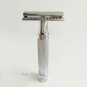 Image 2 - Çift kenarlı emniyetli jilet Net ağırlık 124 Metal paslanmaz berber sakal tıraş DE Blade hediye kutusu