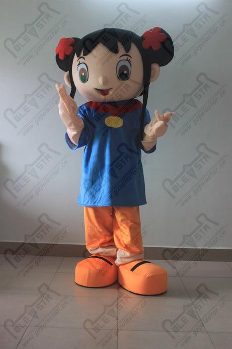 Cheveux noirs fille macot costumes heureux enfants fête mascotte costumes