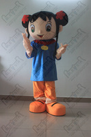 black hair girl macot costumes happy kids party mascot costumes