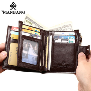 Image 3 - ManBang Genuine Leather Men Wallets Fashion Trifold Wallet Zip Coin Pocket Purse Cowhide Leather man wallet high quality