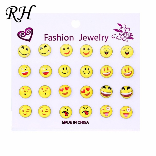 12 Pairs Set Round Yellow Hy Face Emoji Earrings Cute Funny Smiley Stud