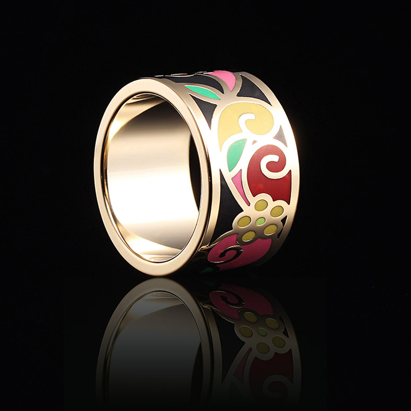 2018 Fashion Rings For Women Small Adorn Enamel Jewelry Boho Cloisonne Handicrafts Ethnic Wind Stainless Steel  Wholesale
