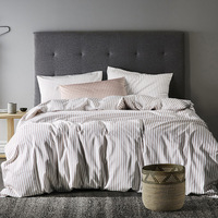 CHAUSUB Luxury Eurpe Bed Linens Satin Cotton Bedding Set 3PCS Stripe Duvet Cover Set bed clothes King Queen Size