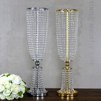 10pcs/lot wedding supply Metal Crystal Bead Banquet Table Centerpiece silver gold color party decorate Chandelier