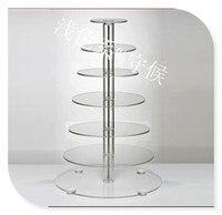 Hot! gratis Verzending! Clear 7 Tier Ronde Acryl Wedding Cake Display Stand Acryl Cupcake Stand