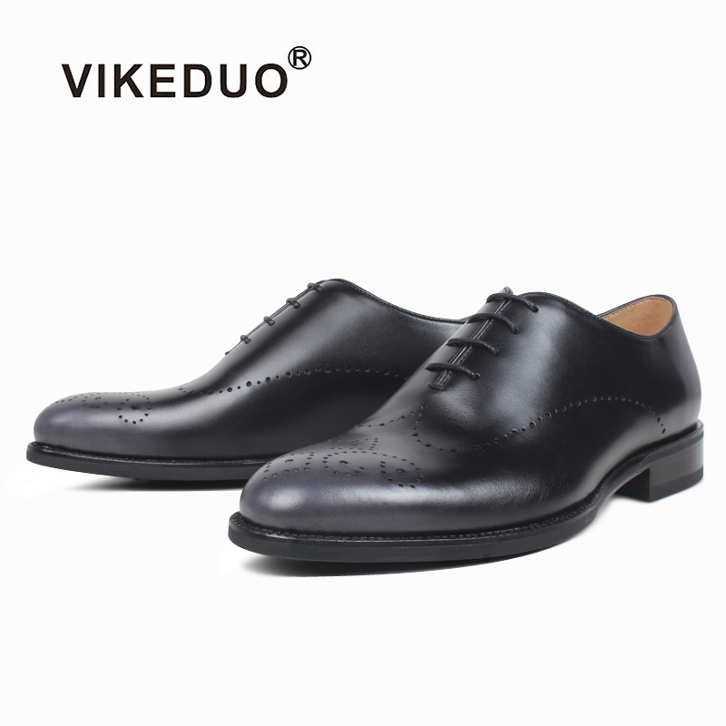 VIKEDUO New Summer Men's Oxfords Shoes Genuine Leather Wedding Office Driving Footwear Mans Brogues Dress Shoe Suits Formal Shoe