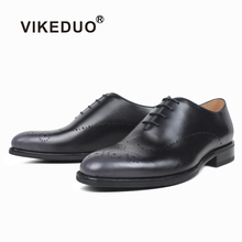 VIKEDUO New Summer Mens Oxfords Shoes Genuine Leather Wedding Office Driving Footwear Mans Brogues Dress Shoe Suits Formal