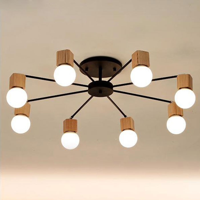 Modern minimalist wood black iron paint 8 arms ceiling lamp American retro living room decoration LED E27 lighting 110 220V
