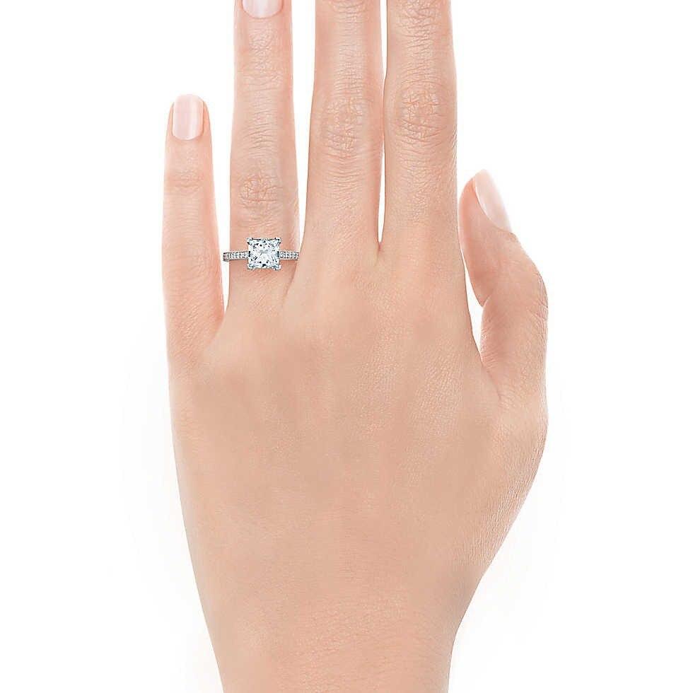 """THREEMAN Топ бренд стиль 1 карат белое золото синтетические бриллианты кольцо """"Принцесса"""" для женщин помолвка великолепный G14K ювелирное изделие из твердого золота"""