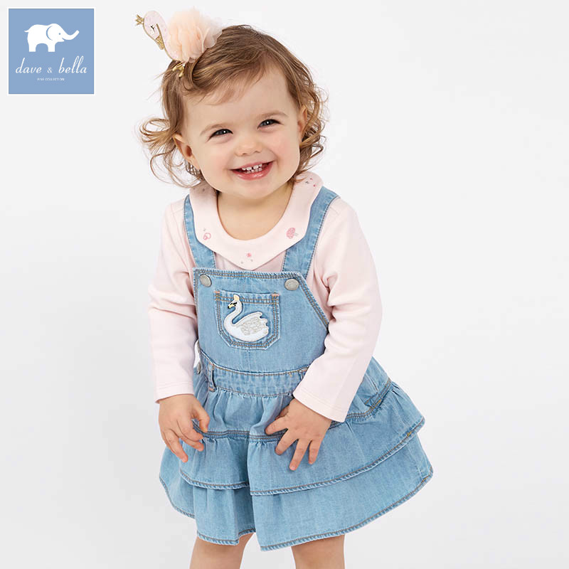 DB7101 dave bella spring infant baby girl's denim dress fashion strap dress birthday suspenders dress toddler children clothes epson 26 c13t26144012 yellow картридж для xp 600 xp 700 xp 800