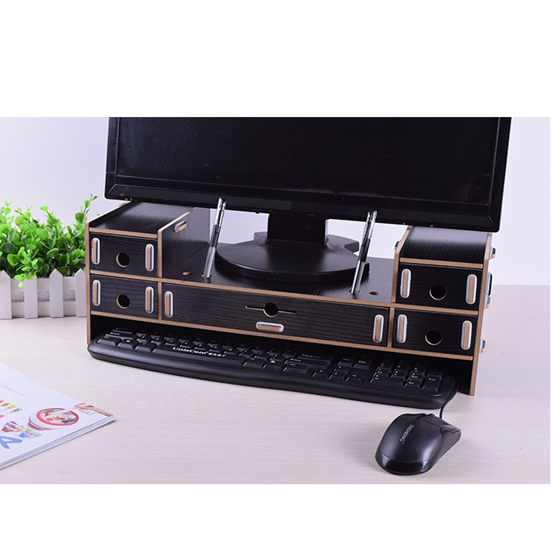 Adjustable Wood Computer Monitor Riser Stand 5 Drawer Desktop Organizer With Pen Slots Keyboard Letter Tray