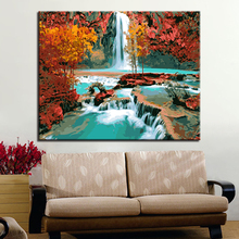 Autumn Waterfall Forest Landscape Picture By Numbers DIY Painting Kits Hand paited On Linen Canvas Home Decorative Unique Gift