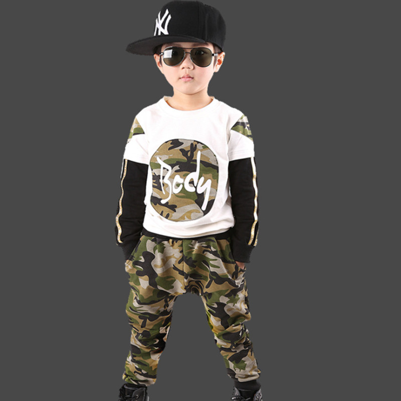 Kids Boys Autumn 2016 new fashion leisure suit small suit large boy child cotton piece fitted long-sleeved camouflage sports [free shipping] 2015 new arrival fashion female 1 4 years child love baby cashmere long sleeved jacket trousers leisure suit