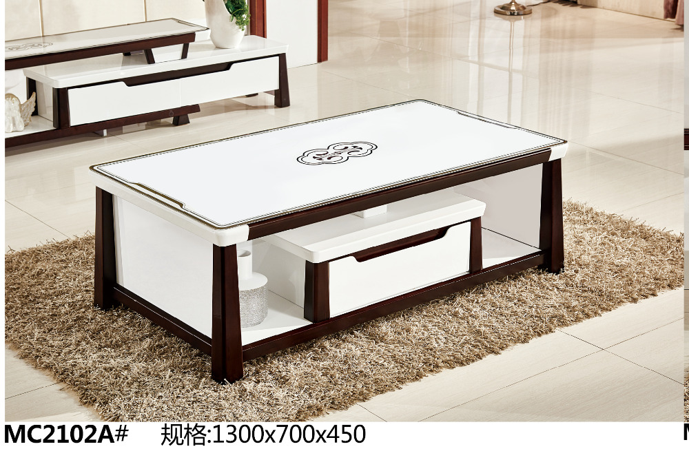 Attractive MC2102A Modern Living Room Furniture Glass Top Tea Table Coffee Table With  Drawer