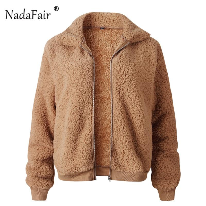 Nadafair Faux Fur Coat Women Autumn Winter Fluffy Teddy Jacket Coat Plus Size Long Sleeve Outerwear Turn Down Short Coat Female 16