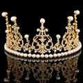 Европейский дизайнер старинные свадебные золото тиара корона кристалл перл аксессуары для волос ювелирные изделия для торжества