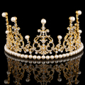 European Designer Vintage Wedding Gold Tiara Crown Crystal Pearl Bridal Hair Accessories Jewelry For Pageant