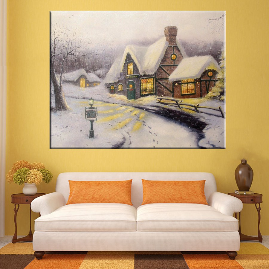 White Snowing Perfect Gifts Living Room Decor Wall Art Thomas ...