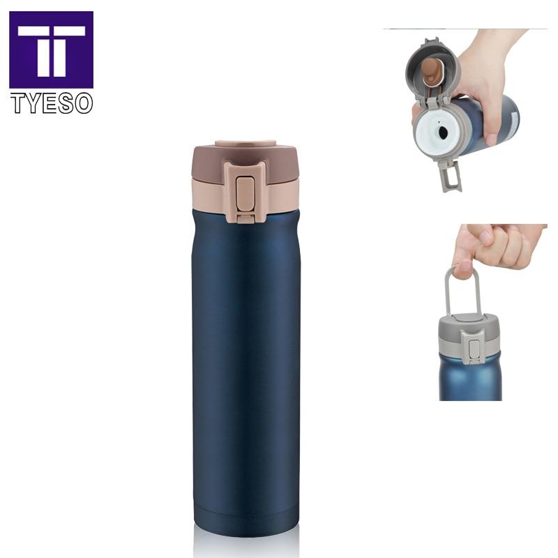 Thermomok 500ml Roestvrijstalen thermosfles draagbare handgreep Reisbeker veilig slot Vaccum thermoses klassieke termos mok