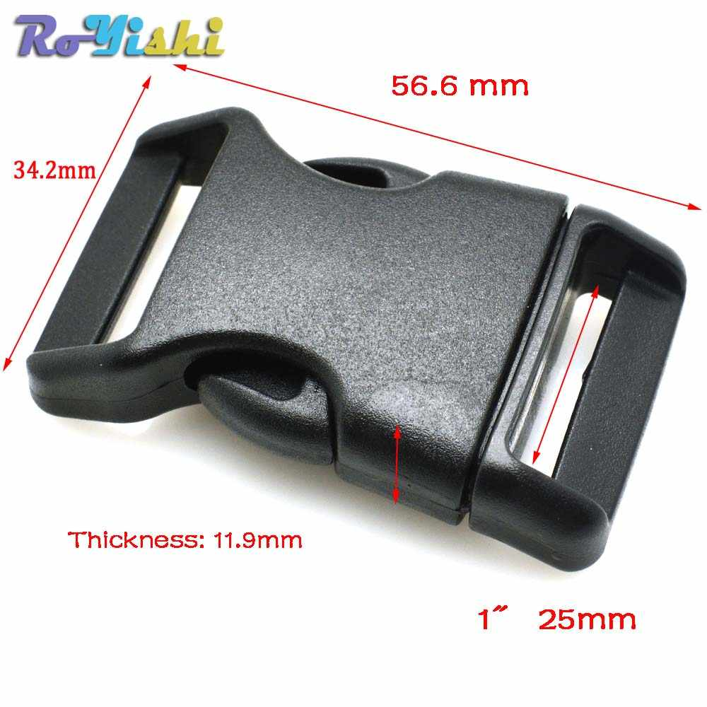 Curvado para paracord pulseira & cão arnês fivela de plástico preto mochila correias webbing