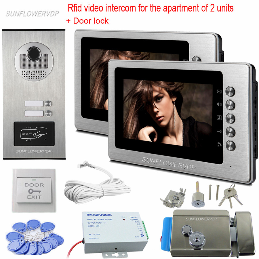 Home Video Door Phone 7 Color Monitor Rfid 2 Buttons Entrance Door Camera Video Door Bell With Electronic Door Lock System 125khz rfid card access control video door phone system wired 7 inch color screen video door bell with rfid card reader