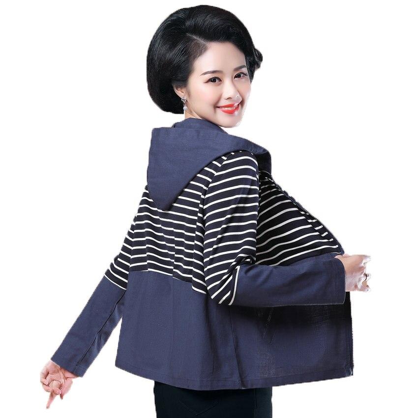 Femmes à capuche manteau noir bleu basique vestes printemps automne femme décontracté capuche veste dame rayé Patchwork vêtements d'extérieur fermeture éclair avant