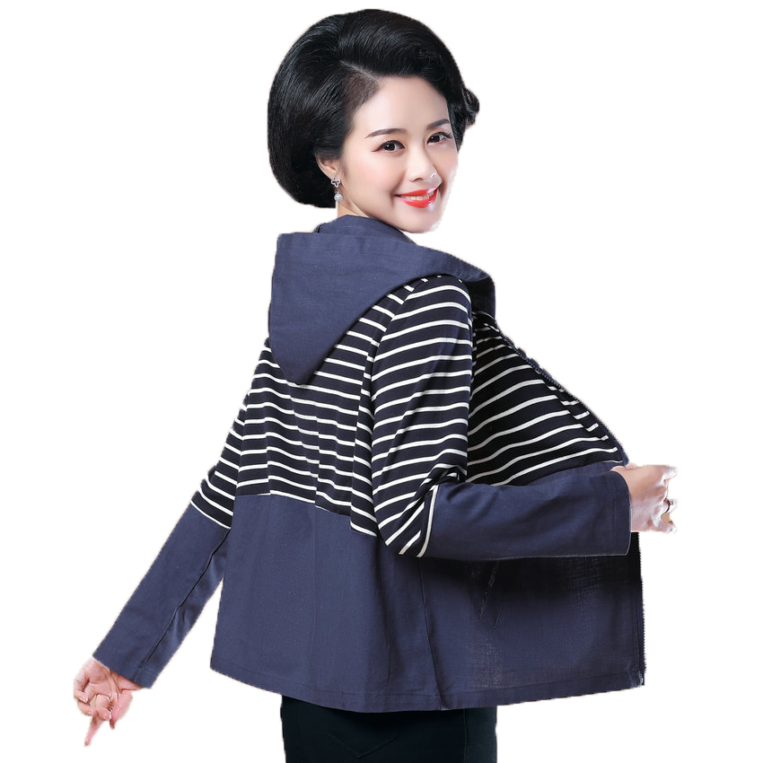 Women Hooded Coat Black Blue   Basic     Jackets   Spring Autumn Woman Casual Hood   Jacket   Lady Striped Patchwork Outerwear Zipper Front