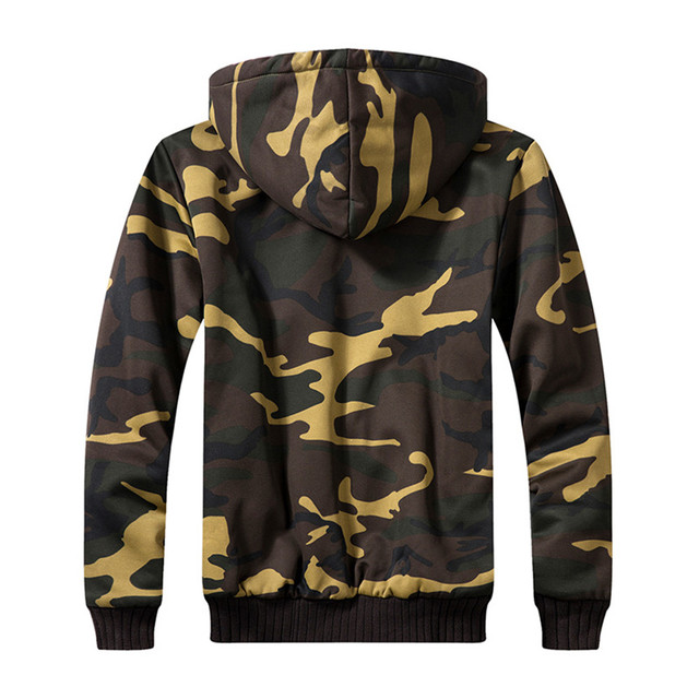 Autumn And Winter Military Camouflage Jacket For Men Fashion hooded Plus Velvet Coat Army Tactical Clothing Male Windbreakers 1