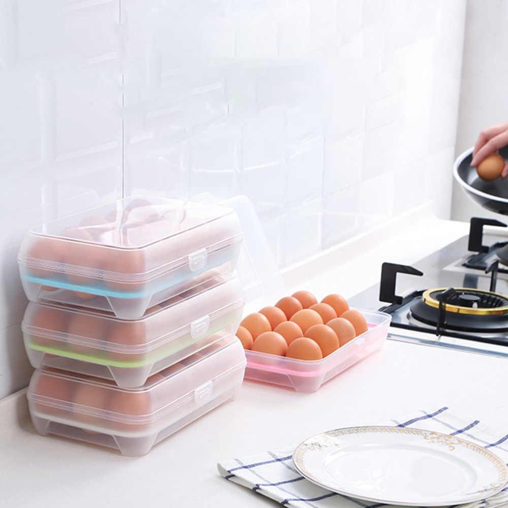 Células da grade 15 Ovos Recipiente Crisper Cozinha Geladeira Caixa Fresco Caixa De Armazenamento Multifuncional De Armazenamento Recipiente de Alimento