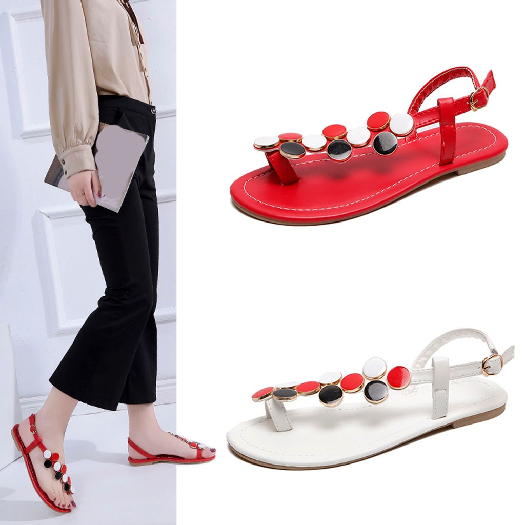 Female shoe Women Summer Flat sandals Solid Color Flip-flop Shoes String Bead Women's slippers Fashion Buckle Strap Sandals Pump