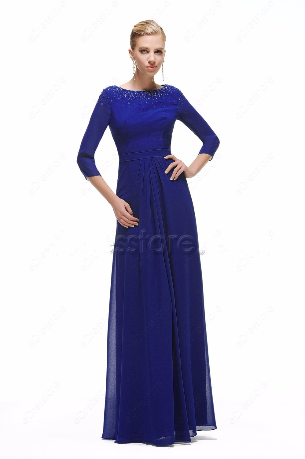 Cecelle 2016 royal blue chiffon modest bridesmaid dresses 34 cecelle 2016 royal blue chiffon modest bridesmaid dresses 34 sleeves a line long beaded wedding guests modest dresses cheap in bridesmaid dresses from ombrellifo Choice Image