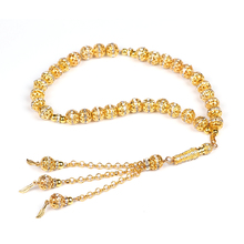 Tasbih Store Hot selling 1 pieces luxurious 10mm golden plated diamante ball tasbih prayer bracelet