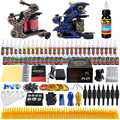 Complete Tattoo Kit 2 Professional Tattoo Machine Kit Coil Machine Guns 54 Inks Power Supply Needle Grips Fast Shipping TKB01