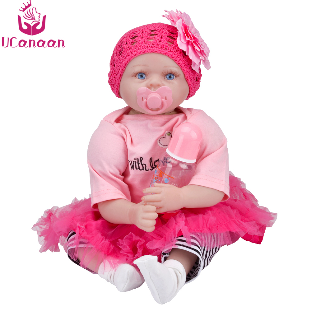 UCanaan Doll Reborn 55CM Cloth Body Silicone Dolls For Girls Baby Alive Toys For Children Realistic Babies New Born Kids Toys ucanaan 1 3 bjd doll reborn girls dolls 19 jointed body chinese style maxi long dress wig makeup dressup diy sd kids toys