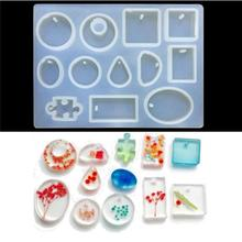 12 Designs Crystal Silicone Mold Cabochon Silicone Mold Necklace Pendant Resin Jewelry Making Mould DIY Hand Craft