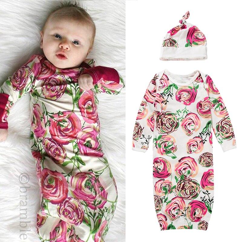 Newborn Baby Girl Sleeping Bag Floral Long Sleeve Sleep Gowns+Hat Sleepwear Autumn Winter Pajamas