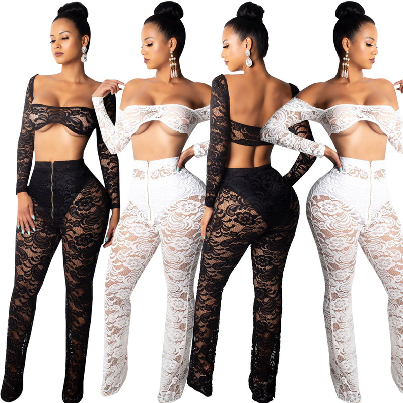2018 Fashion Women Lady Sexy Long Sleeve Lace Crop Tops And Long Pants 2 Piece Sets Summer Women Casual Suit