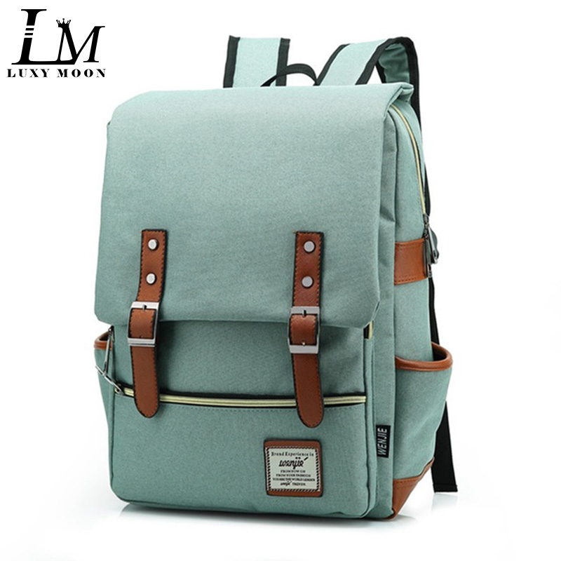 Canvas Backpacks Bookbag Square Business Laptop Travel Teenage Girls School Fashion Satchel