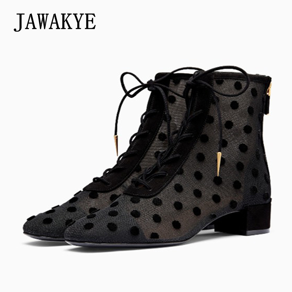 цена Black Polka dot Mesh Lace ankle boots women Lace up kitten heels Summer Boots female gladiator sandals Square toe botines mujer