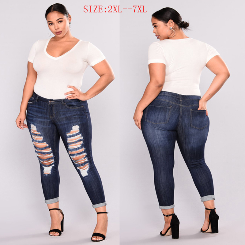 PLUS SIZE Casual Jeans Women High Waist Skinny Pencil Jeans Denim Pants Women Ripped Hole Stretch Elastic Jeans Women 6XL 7XL